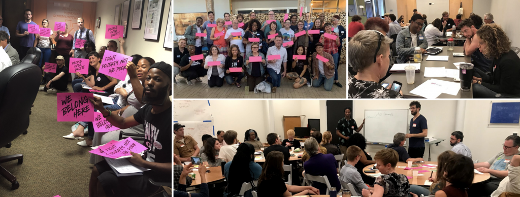A collage of four images shows groups of roughly 30-40 people engaged in collective action: mobilization, education, and organizing.